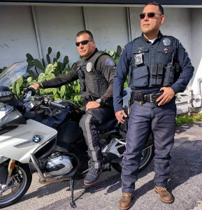 Officers Brian and James wearing the Made in USA boots.