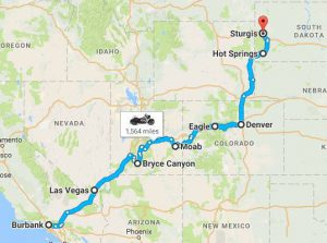 The route from Los Angeles to South Dakota.