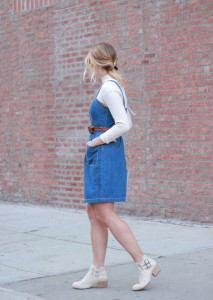 Old_Navy_Denim_Button_Front_Dress_Ivory_Booties_Looped_Ponytail_1
