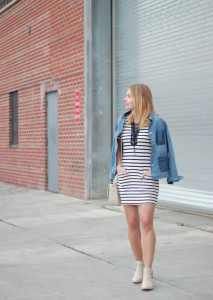 Stripe_Dress_Denim_Jacket_Cat_Studded_Boots_3