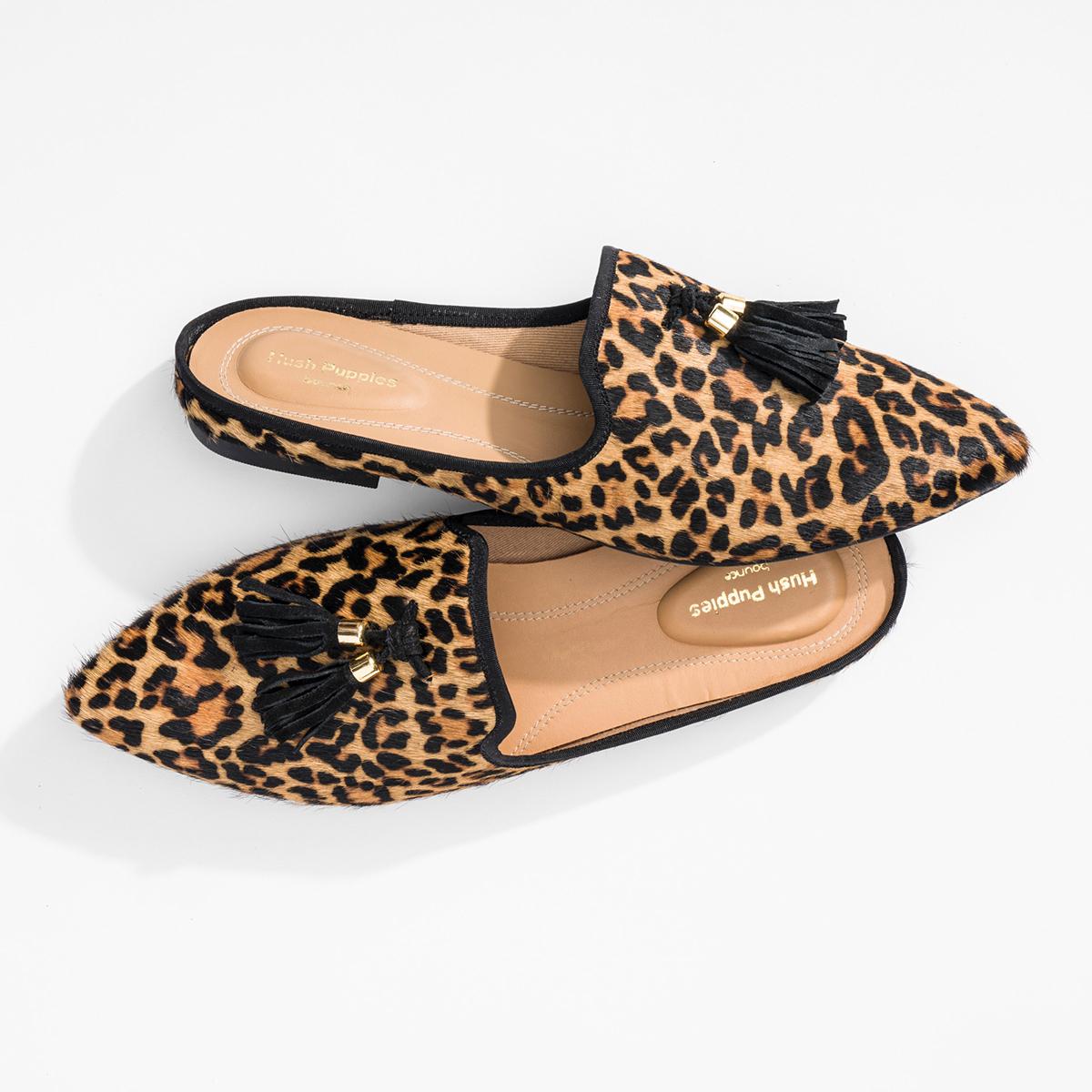 Sadie Tassel Mule   Leopard Calf Hair   Hush Puppies