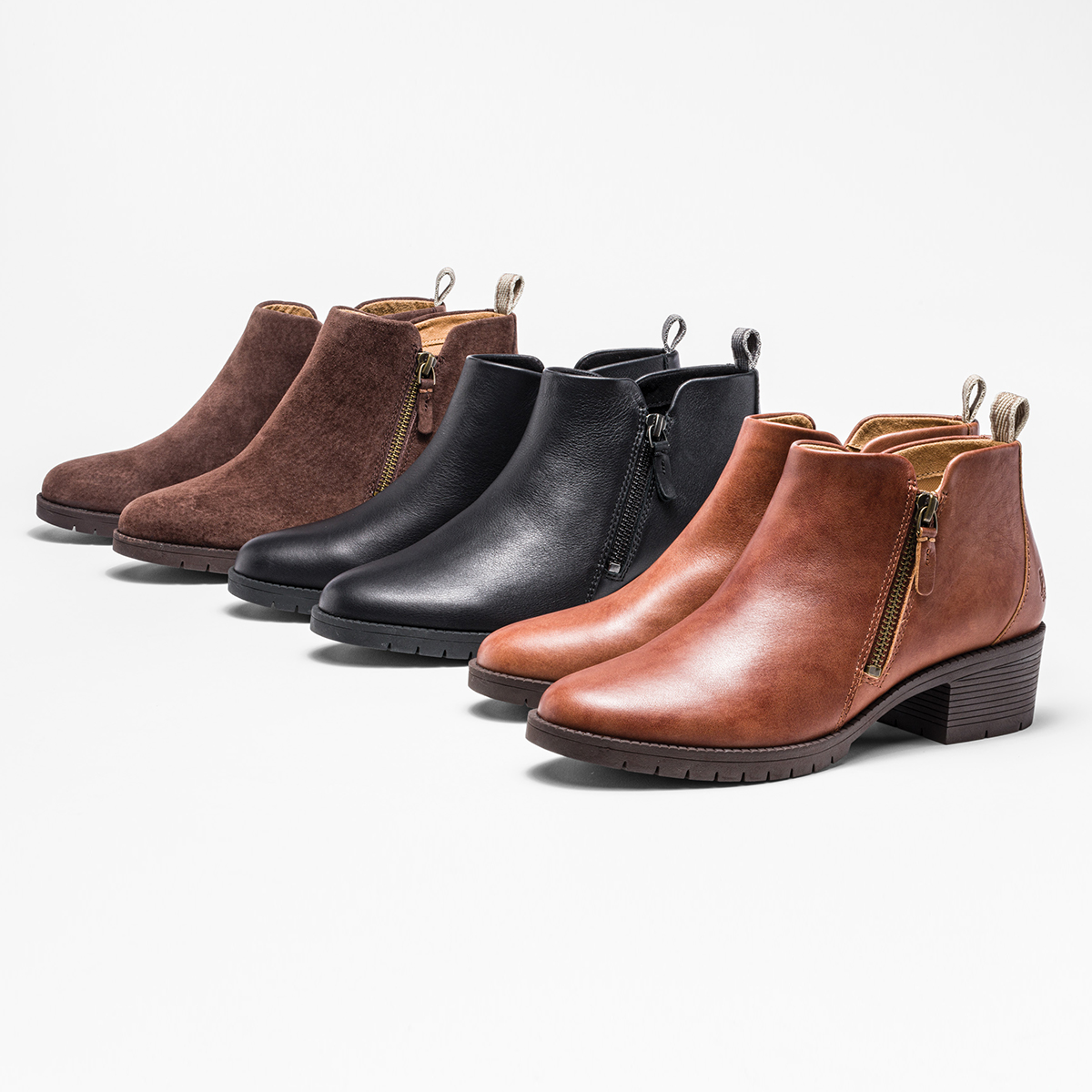 Hadley Sidezip Boot   Cognac Leather, Black Leather, Brown Suede   Hush Puppies