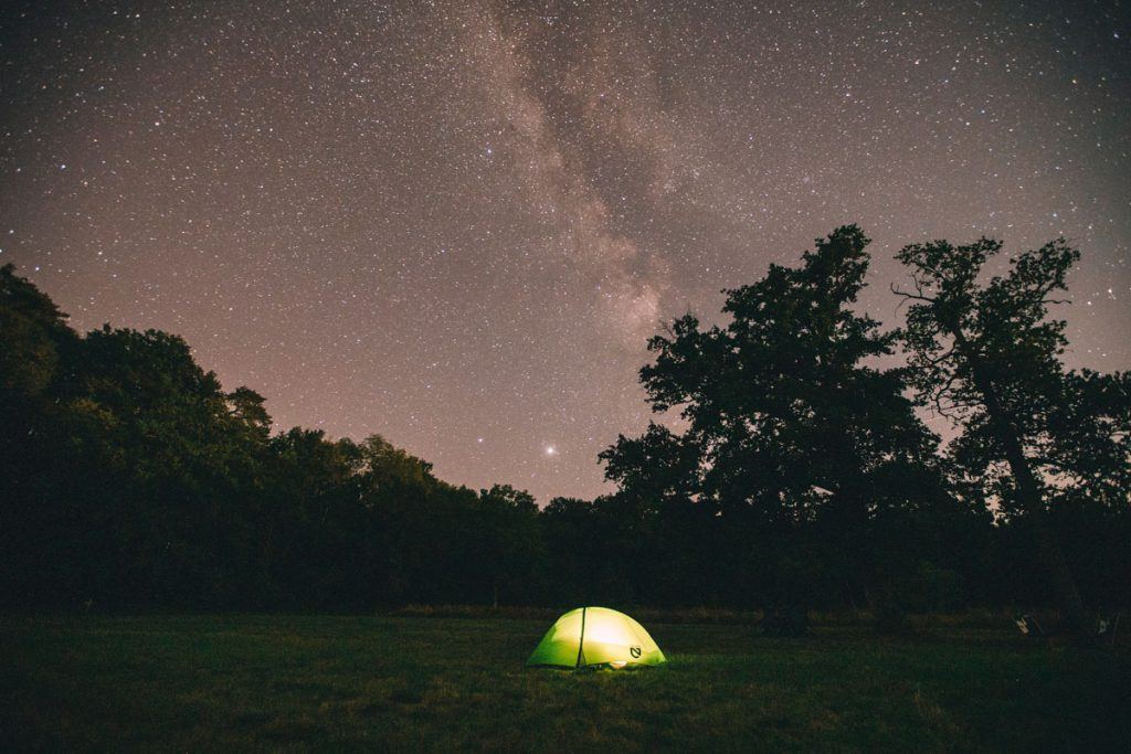 camping, tent, stars in sky