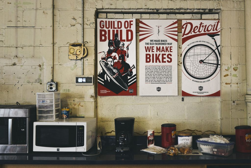 detroit bikes' break room area for employees