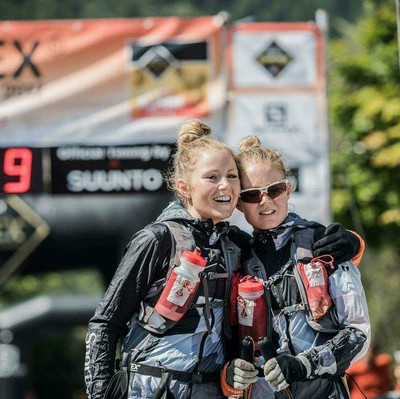 sisters posing after completed a race