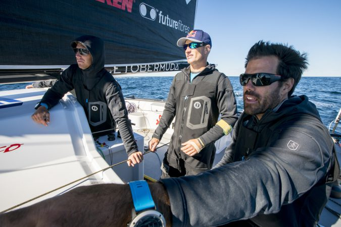 Rome Kirby, Jimmy Spithill, and Shannon Falcone talk about potential improvements onboard the F4 race yacht during testing with Team Falcon in Newport, Rhode Island, USA on 25 September, 2016.