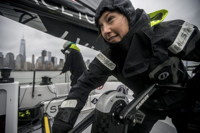 Emily Nagel stands by at the grinding pedestal onboard the F4 race yacht during a test-sail with Team Falcon in New York, NY, USA on 22 October, 2016.