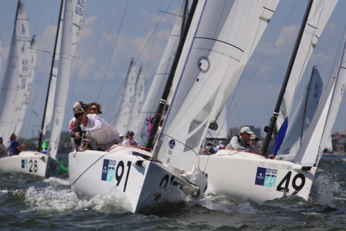 J/70s make their way up the beat in Charleston's tricky tidal currents. © Tim Wilkes.
