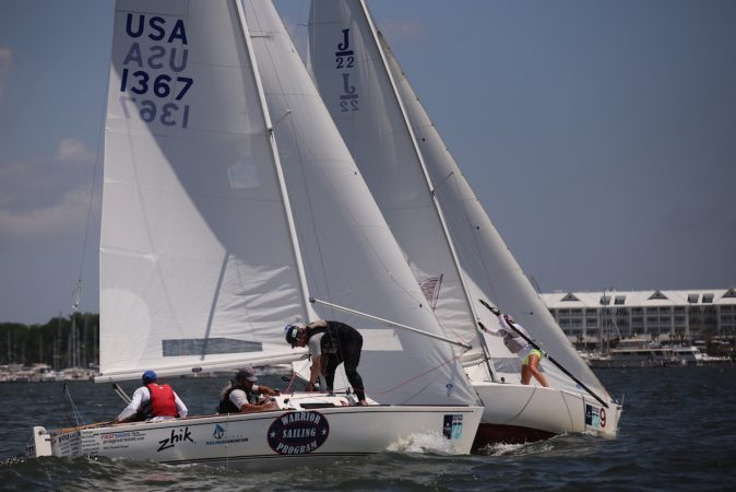 The Warrior Sailing Team, which one the J/22 Class, was one of five boats in the event that had injured military servicemen or veterans on board. © Meredith Block.