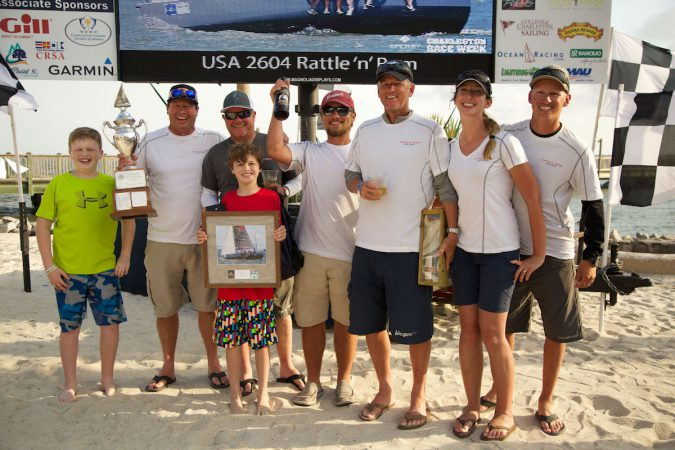 Mike Beasley and his Annapolis-based crew celebrate winning the Palmetto Cup as the best performing boat in the most competitive handicap class.