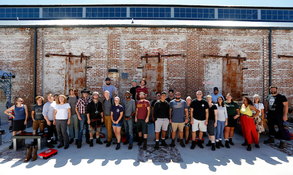 IMAGE DISTRIBUTED FOR WOLVERINE - Students wear their new Wolverine boots to kick off Project Bootstrap at the American College of the Building Arts on Wednesday, Sept. 27, 2017 in Charleston, S.C. (Mic Smith/AP Images for Wolverine)